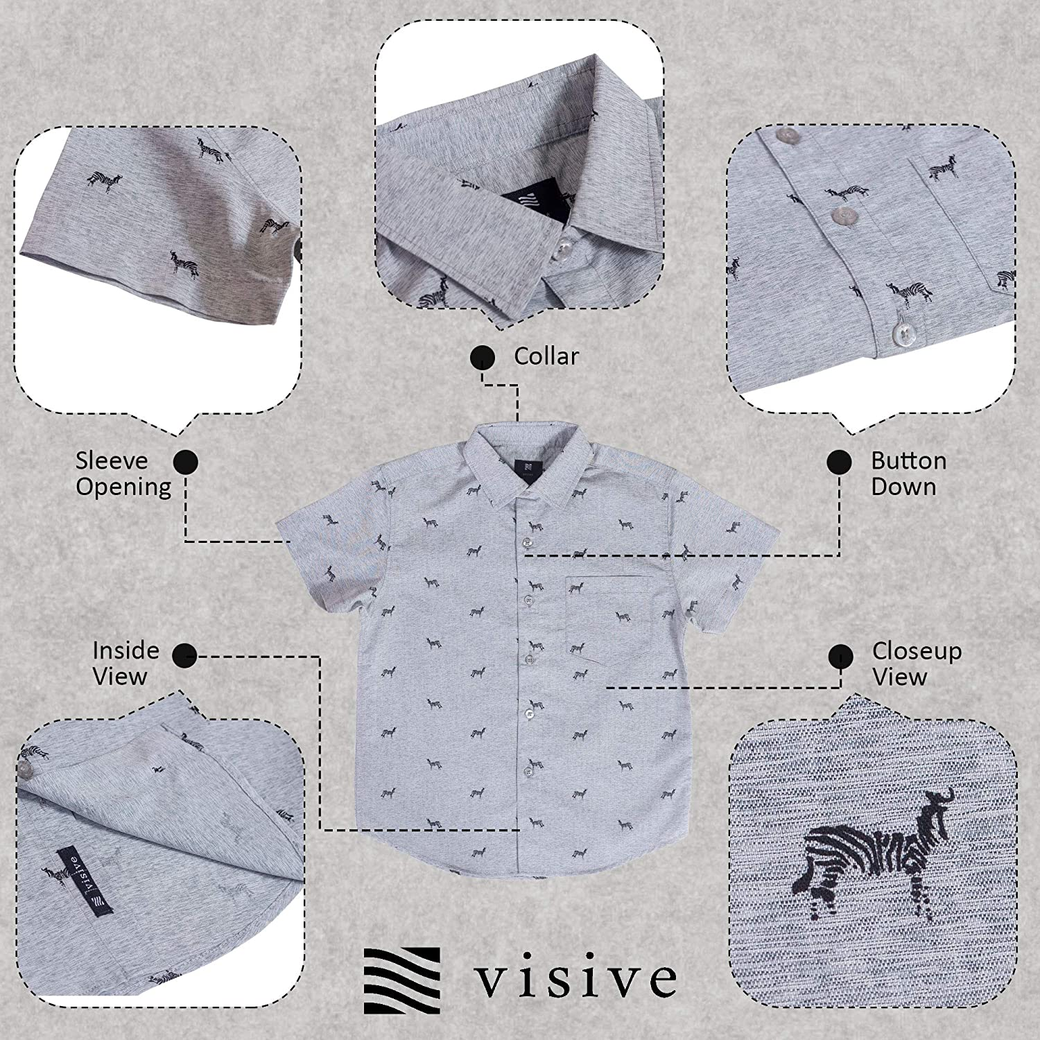 Visive Hawaiian Shirts for Boys Short Sleeve Printed Button Up Shirt