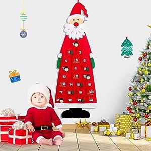 rolimate Christmas Felt Advent Calendar 2020 3.78ft Wall Hanging Santa Advent Calendar with Pockets 24 Days Reusable Christmas Countdown Calendar Xmas Decorations