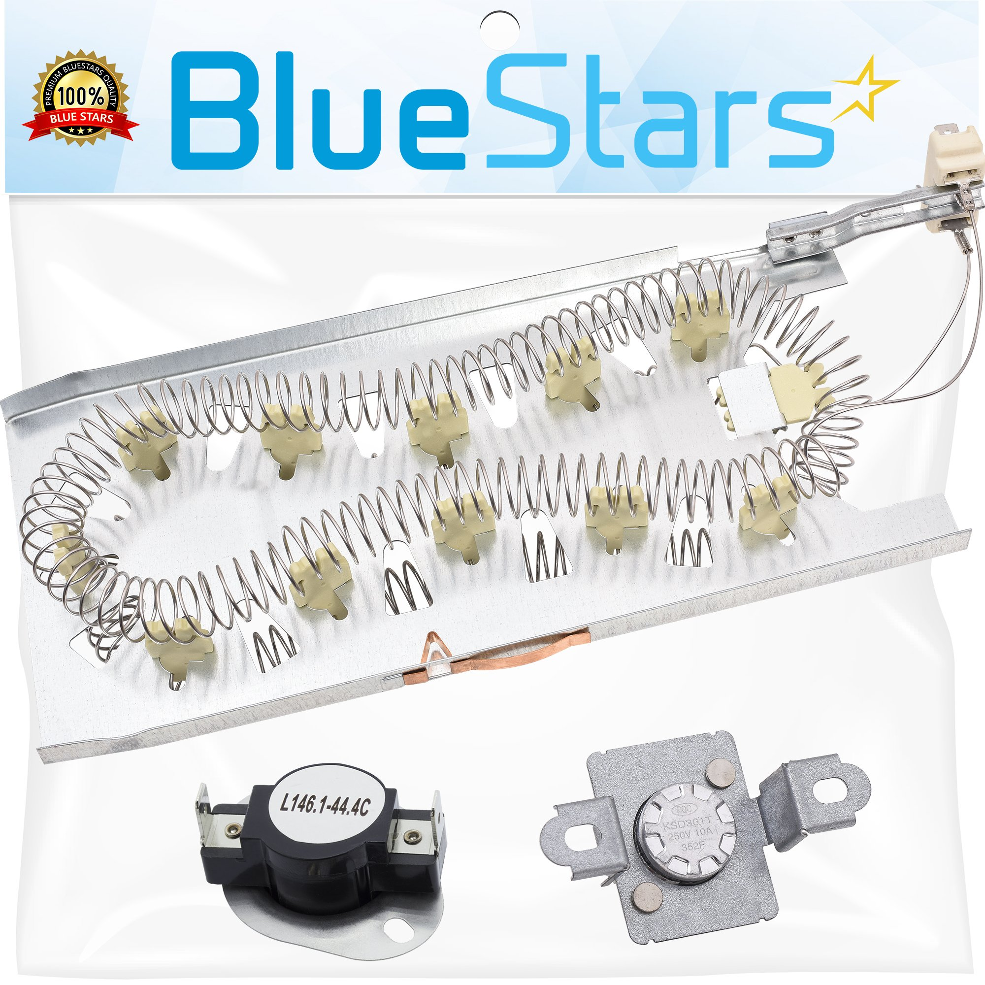 3387747 & 279973 Dryer Heating Element With Dryer Thermal Cut-off Fuse Kit by Blue Stars- Exact Fit for Whirlpool Kenmore Dryers by BlueStars