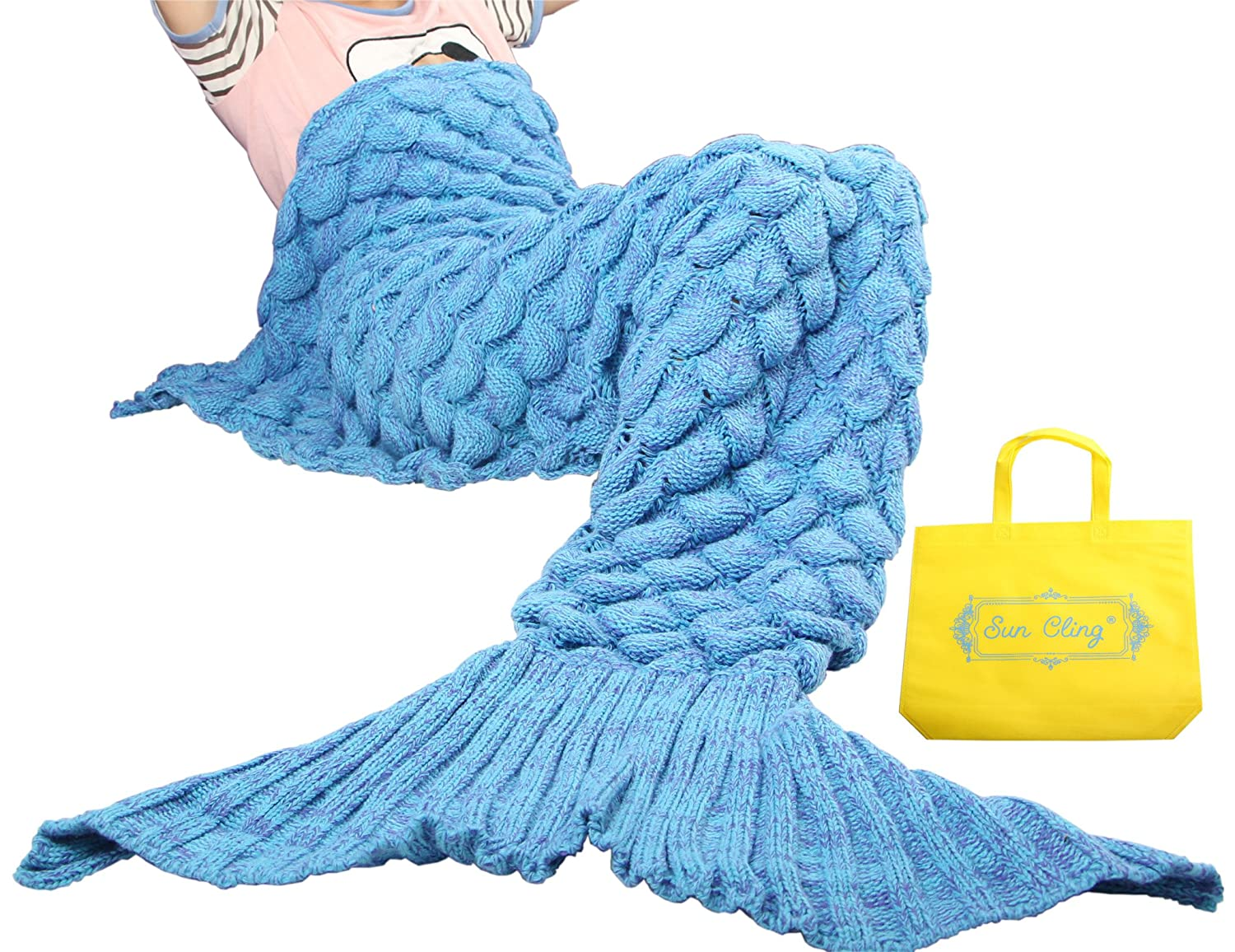 Amazon Sun Cling Handmade Soft Crochet Mermaid Blankets Blue