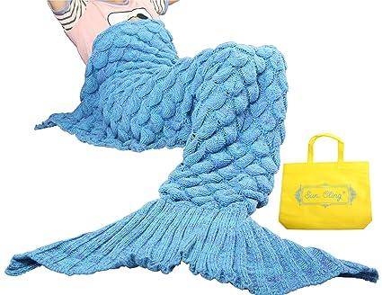 Amazon Sun Cling Handmade Soft Crochet Mermaid Blankets Blue