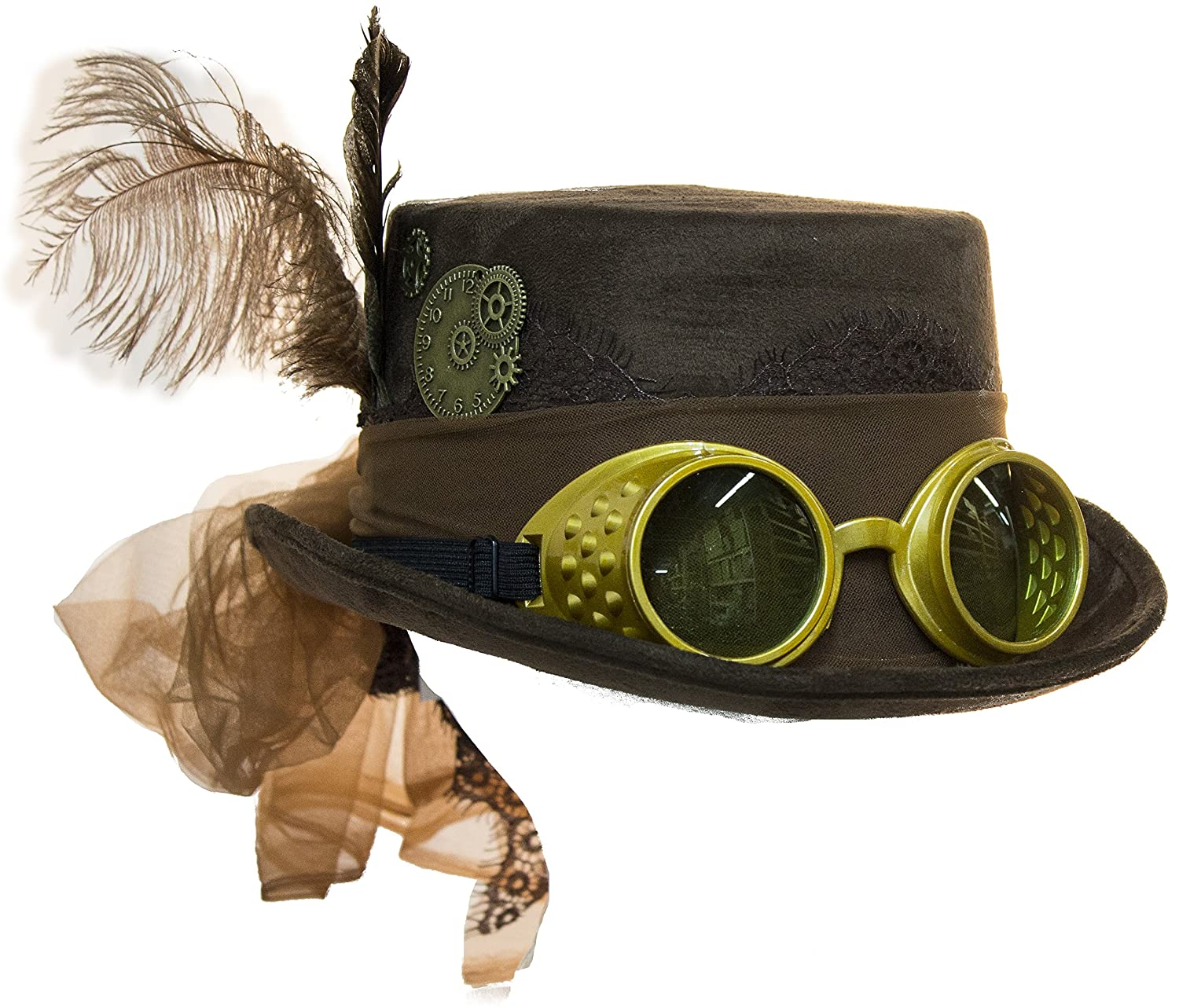 Steampunk Hats | Top Hats | Bowler Deluxe Velvet 4.25 Inch Steampunk Top Hat with Removable Goggles $19.95 AT vintagedancer.com