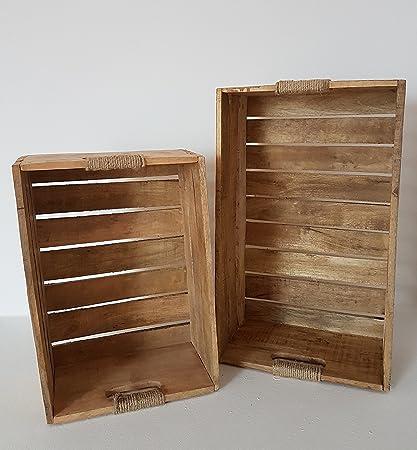 Mein Publicar Madera Cajas de 2 Caja de Madera Marrón Caja de Fruta (Deko Rústico
