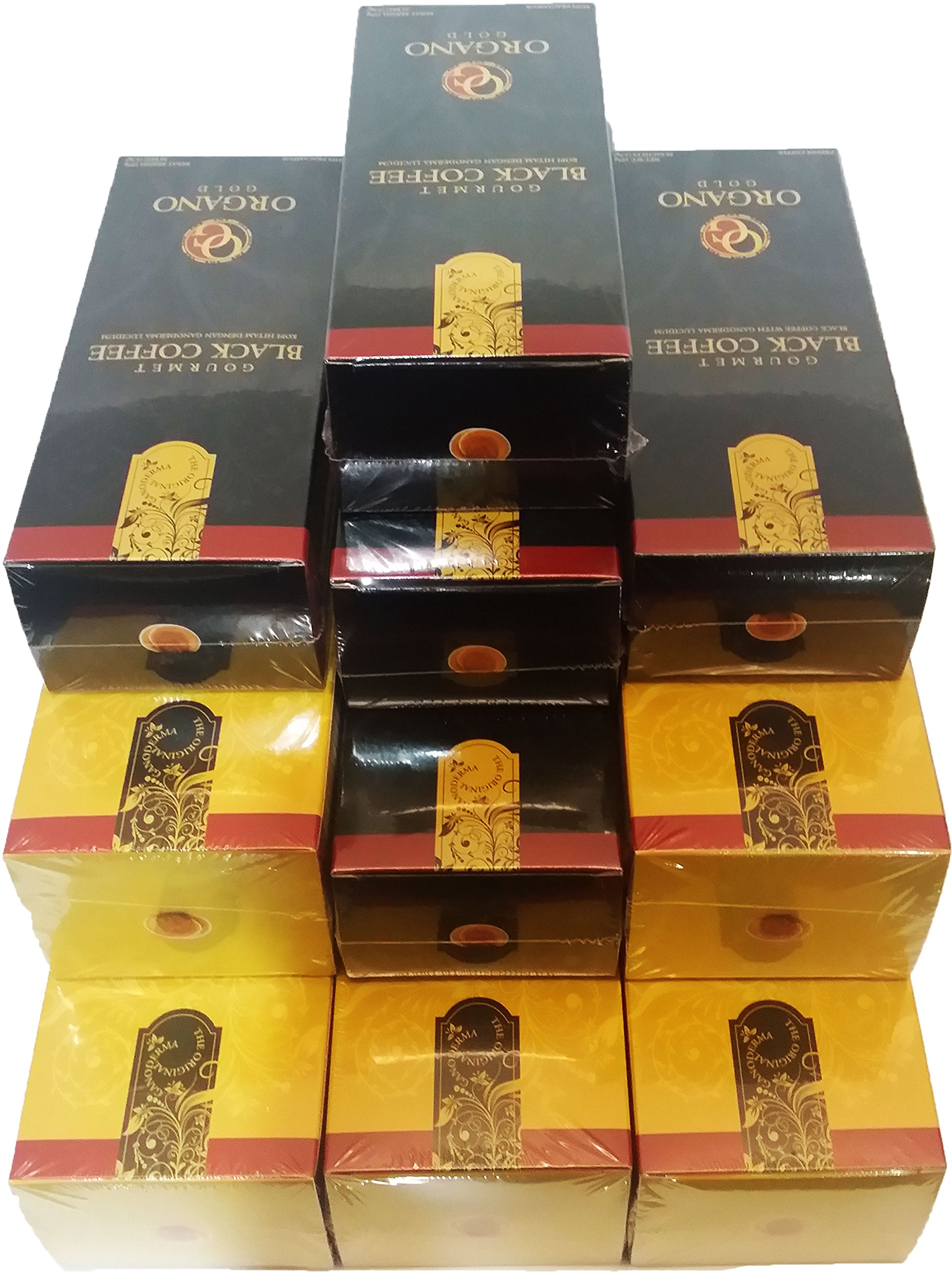 Mix Pack-10 Organo Gold (5) Gourmet Black Coffee + (5) Gourmet Cafe Latte with 100% Organic Ganoderma Lucidum Extract - HOS
