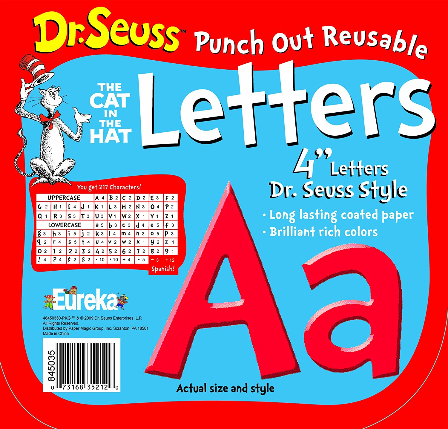 Paper Magic 487215 Eureka Dr. Seuss Punch Out Reusable Decorative 4-Inch Letters, Stripes, Set of 200 Paper Magic Group Inc.