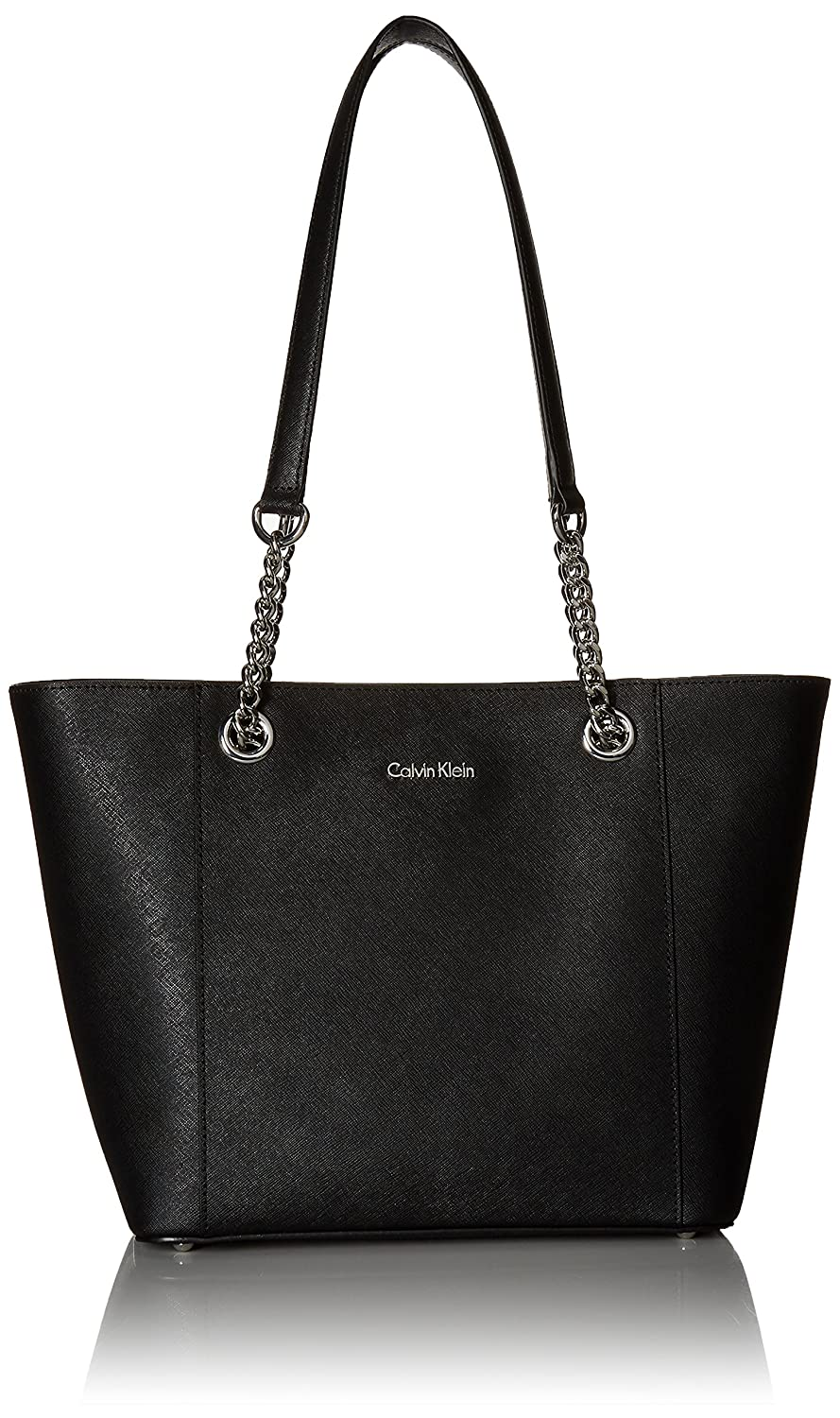 466f9e53e399 Calvin Klein Hayden Saffiano Leather East West Top Zip Chain Tote ...