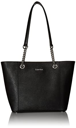 4ea28caf8583f Calvin Klein Hayden Saffiano Leather East West Top Zip Chain Tote ...