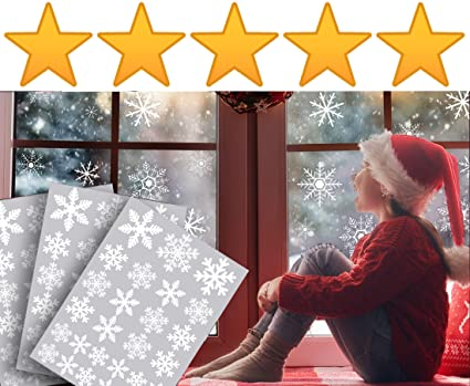 81 white snowflake window stickers clings decals christmas window decorations 81 individual snowflakes - Christmas Window Decorations Amazon