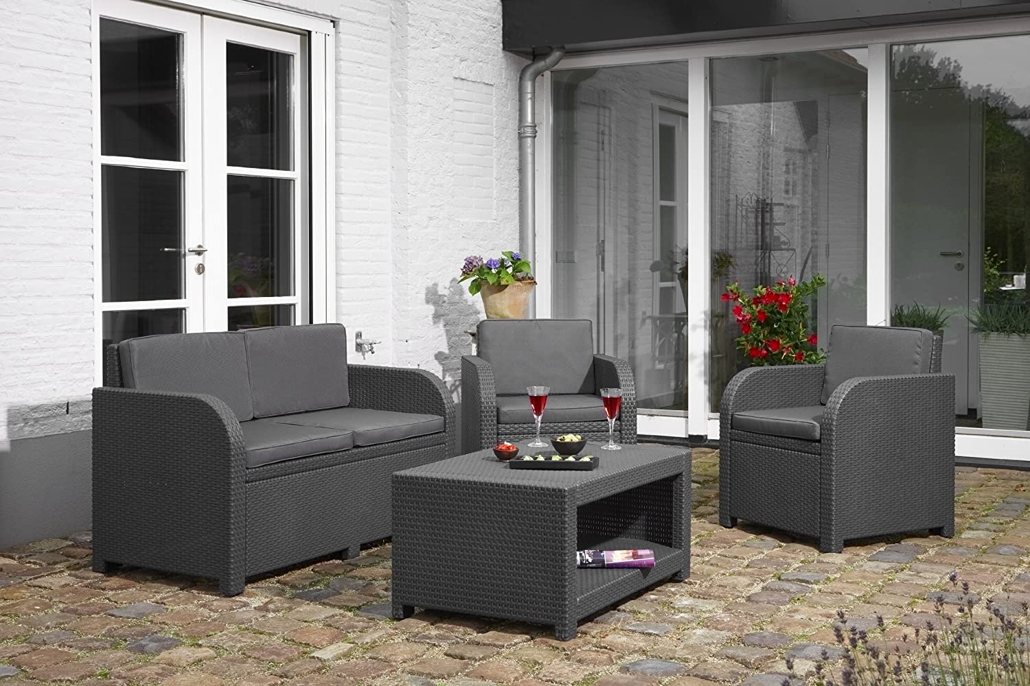 Amazon.de: Allibert Lounge-Set Modena 4tlg, graphit/cool grey