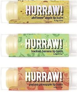 product image for Hurraw! Ahiflower Apple, Baobab Banana, Papaya Pineapple Lip Balms, 3 Pack Bundle: Organic, Certified Vegan, Cruelty and Gluten Free. Non-GMO, 100% Natural. Bee, Shea, Soy & Palm Free. Made in USA