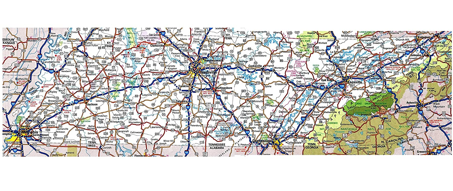 Amazon.com: TENNESSEE STATE ROAD MAP GLOSSY POSTER PICTURE PHOTO ...
