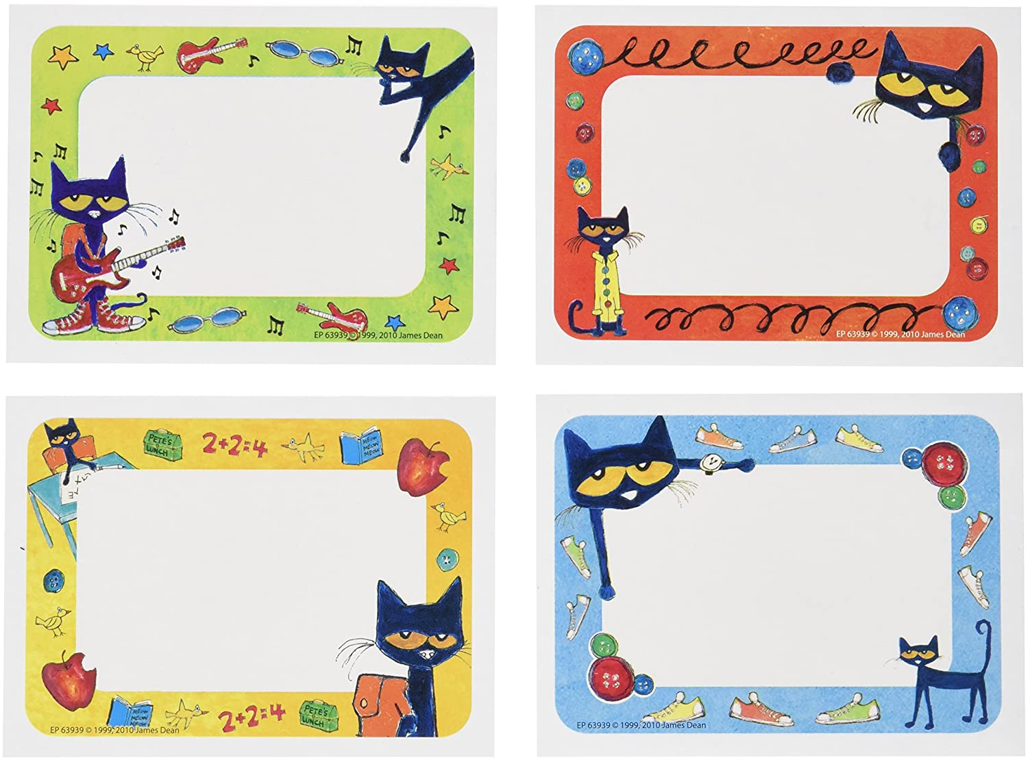 picture regarding Free Printable Cubby Name Tags referred to as Edupress EP63939 Pete the Cat Track record Tags/Labels