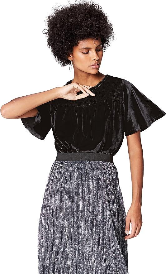 Marca Amazon - find. Blusa de Terciopelo para Mujer
