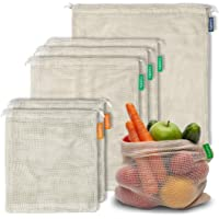 6 Reusable Organic Cotton Produce Bags - Bulk Pack of 6 Mesh | Eco Friendly | Double-Stitched & Tare Weigh & Drawstring…