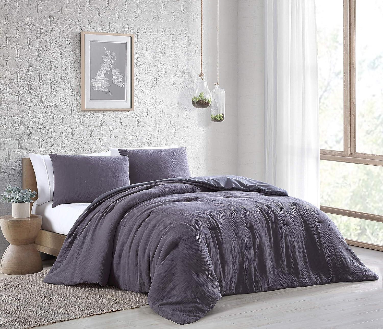 Geneva Home Fashion Annika 3 pc Comforter Set, Queen, Charcoal Grey