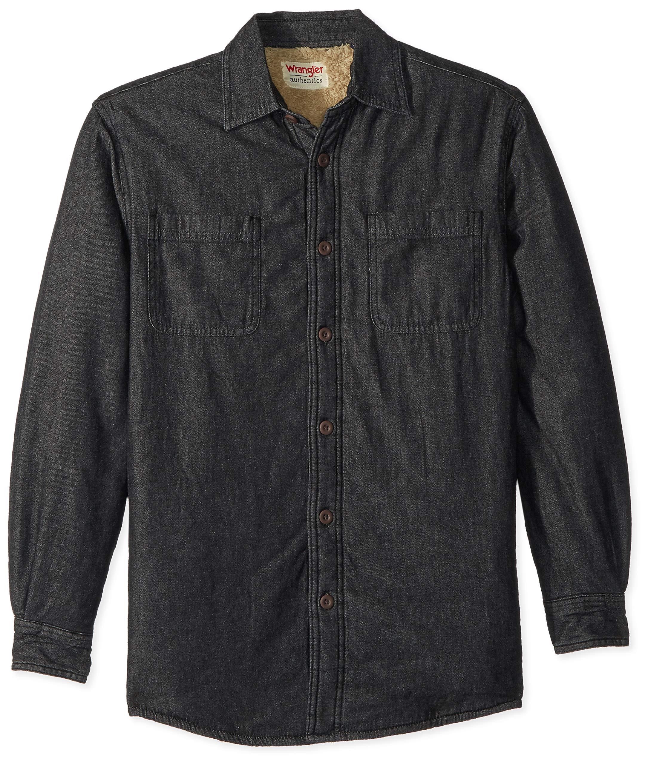Wrangler Authentics Men's Long Sleeve Quilted Lined Flannel Shirt Jacket, Black Denim, X-Large