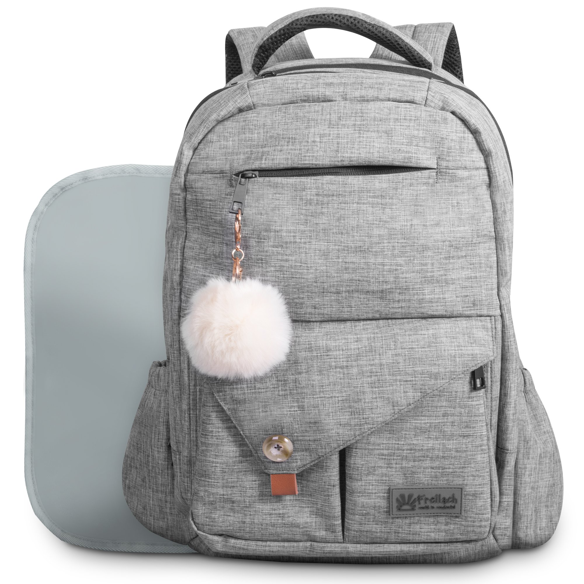 Baby Diaper Bag Backpack for Mom and Dad W/ Changing Pad & Cute Pompon Keychain: Fit Everything Inside! Grey Unisex Organizer, Large Waterproof Pack, Fits on Back, Stroller or as a Handheld Nappy Tote by Freilach