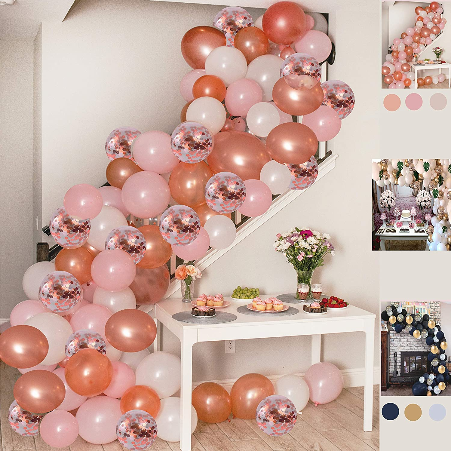 Balloon Garland Kit Pink Rose Gold White Confetti Balloons Big Balloons mix 16 ft long Decorations for Parties Wedding Baby Shower Graduation Includes Glue Dots Strip Hand Pump Ribbon Tying Tool Hooks