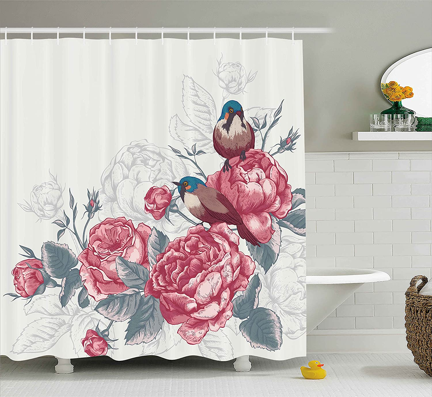 Romantic Shower Curtain By Ambesonne Vintage Country Sparrows Birds With Roses And Leaves Artwork Print Fabric Bathroom Decor Set Hooks 70 Inches