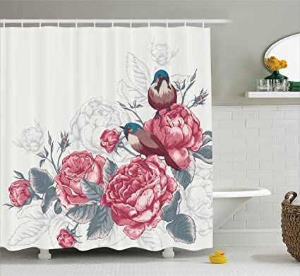Floral Shower Curtain Spring Garden Forest Print for Bathroom 70 Inches Long
