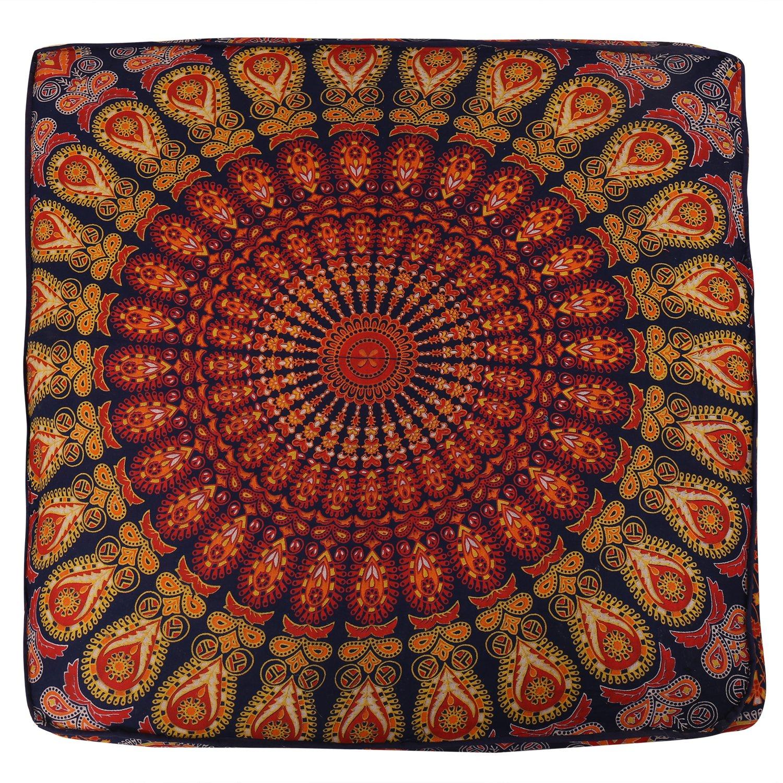 Indian Boho Mandala Square Cushion Cover Meditation Pouf Floor Pillow-Throw