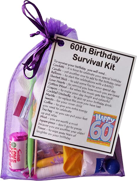 Smile Gifts Uk 60th Birthday Gift Unique Novelty Survival Kit 60th Birthday For Her Gift For 60th Sixtieth Birthday Amazon Co Uk Office Products