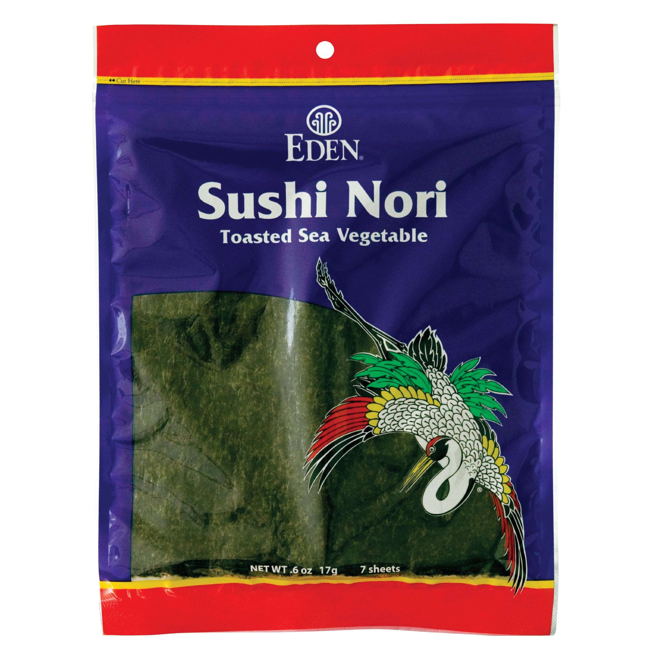 Eden Sushi Nori, Toasted Sea Vegetable, 0.6-Ounce Packets (Pack of 6)