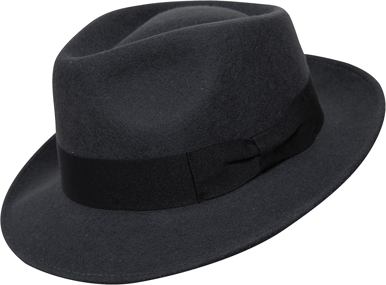 Borges & Scott B&S Premium Doyle – Sombrero de lágrima Fedora - 100% Fieltro de Lana - Enrollable para Viajes - Resistente al Agua - Unisex