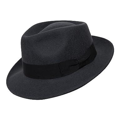 3a11328c38718 B S Premium Doyle - Teardrop Fedora Hat - 100% Wool Felt - Crushable for  Travel