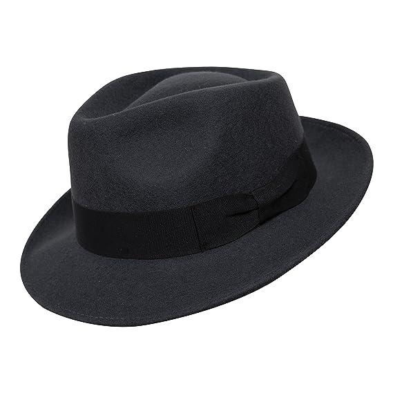 B S Premium Doyle- Cappello a Goccia Fedora-100% Feltro di Lana- Ripiegabile 485c50dec585