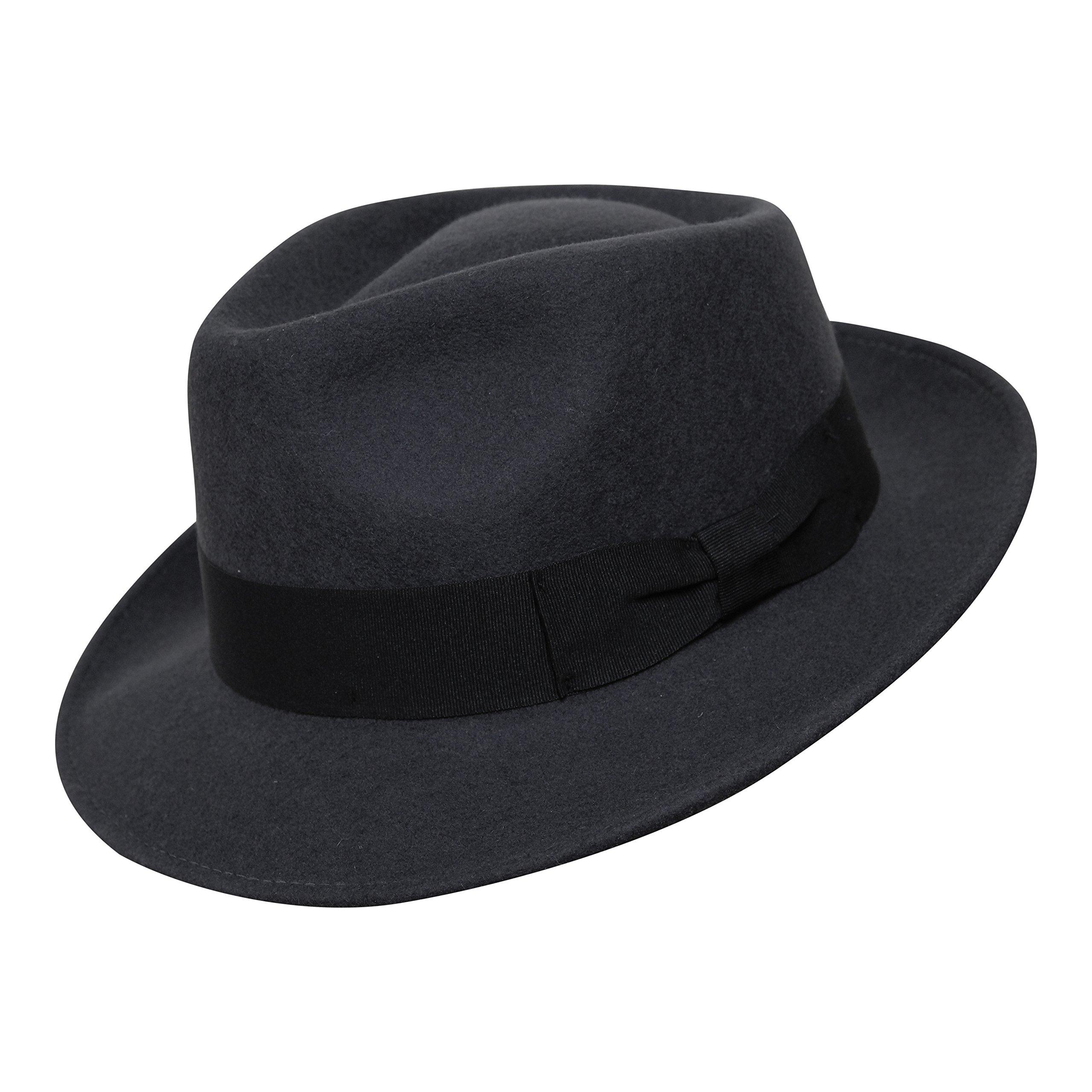 B S Premium Doyle- Cappello a Goccia Fedora-100% Feltro di Lana-  Ripiegabile in Viaggio- Impermeabile- Unisex 6552b8e07dec