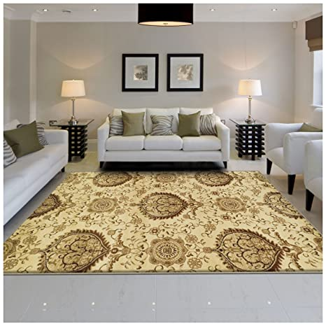 Superior Poplar Collection Area Rug Traditional Gold Medallion Pattern 10mm Pile Height With Jute Backing Affordable Contemporary Rugs 2 7 X 8