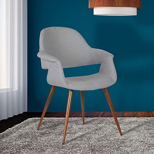 Armen Living Phoebe Dining Chair in Grey Fabric and Walnut Wood Finish