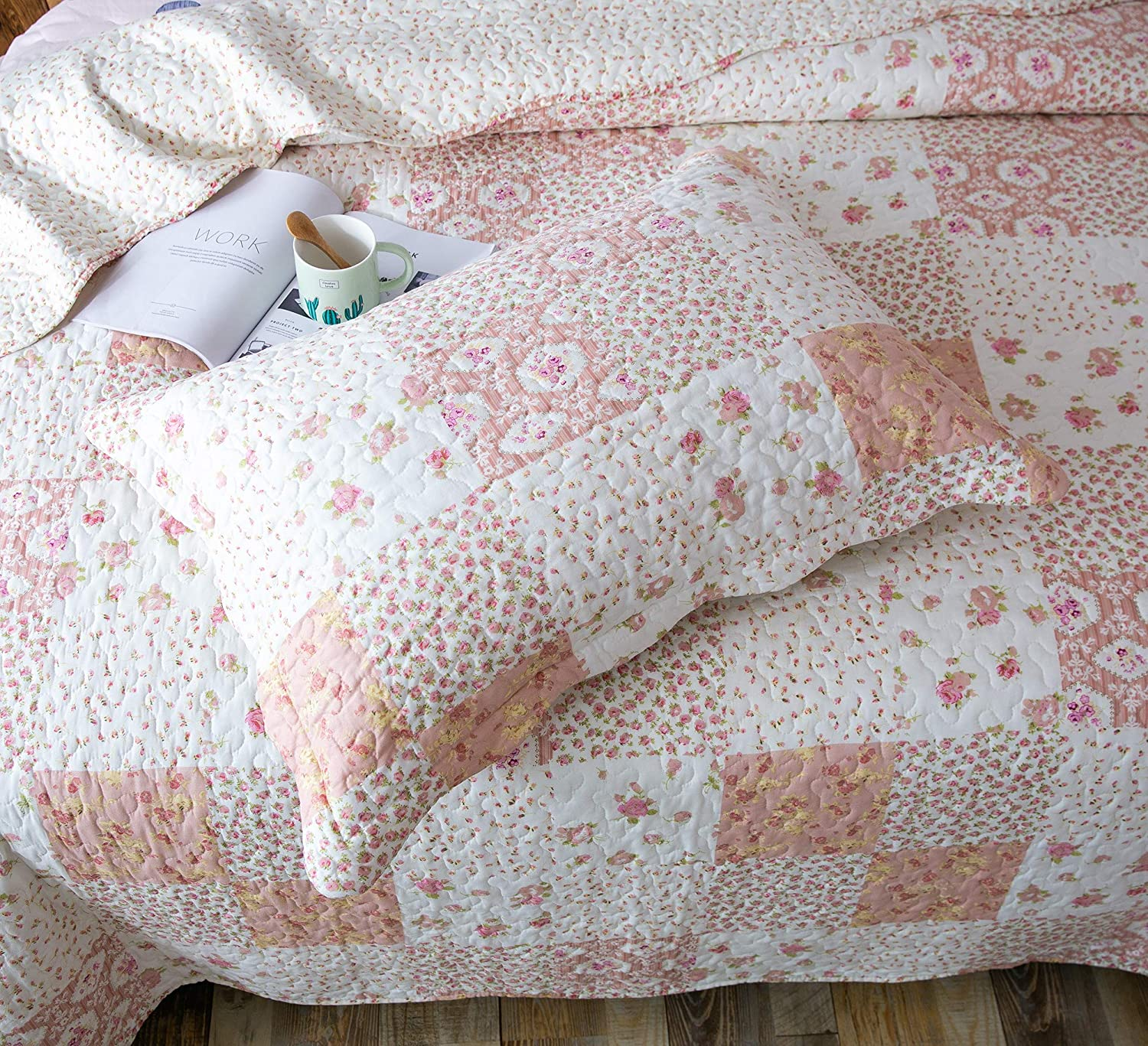 Microfiber Fabric Multi-Pink Kasentex Country-Chic Printed Pre-Washed Quilt Set