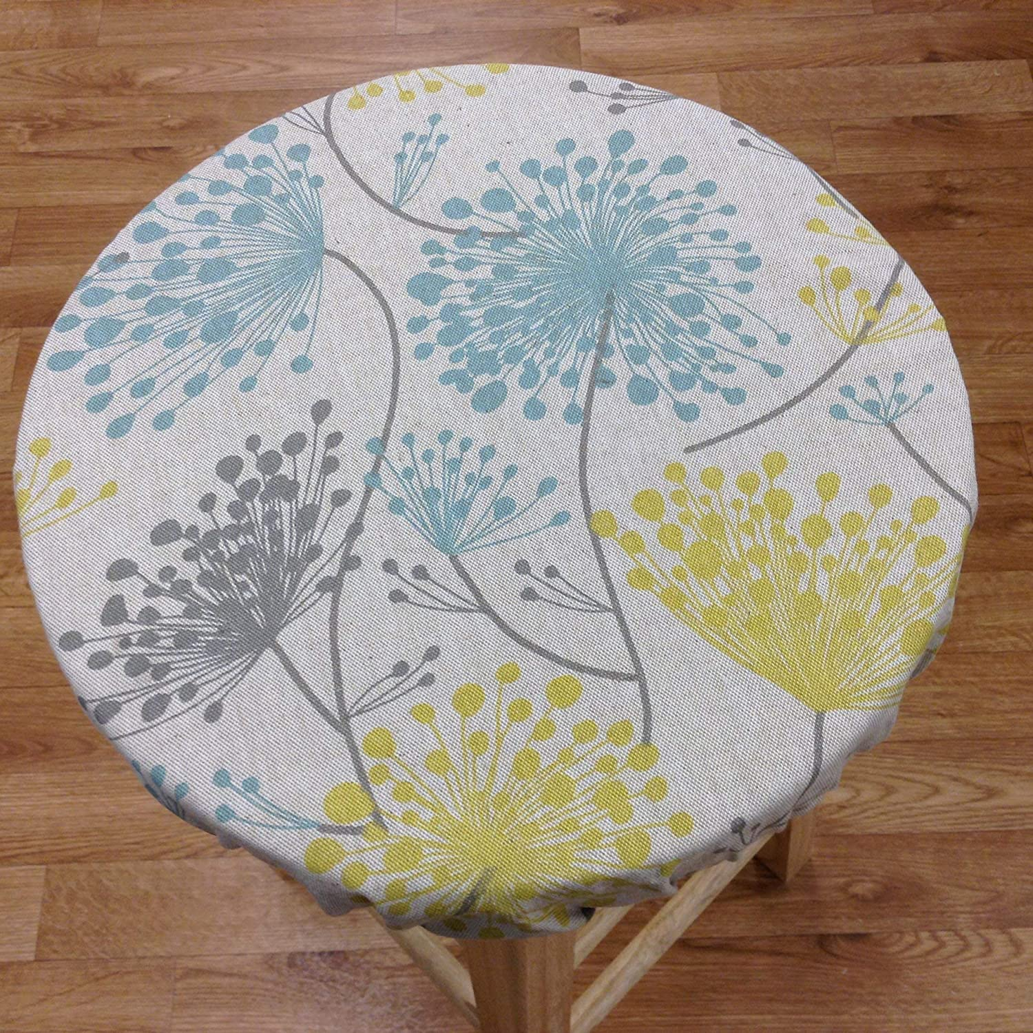 Amazing Round Bar Stool Cover For Seats 12 20 Diameter Rustic Irish Daisy Floral Prints Natural Linen With Light Blue Grey And Yellow Colors Stool Ncnpc Chair Design For Home Ncnpcorg