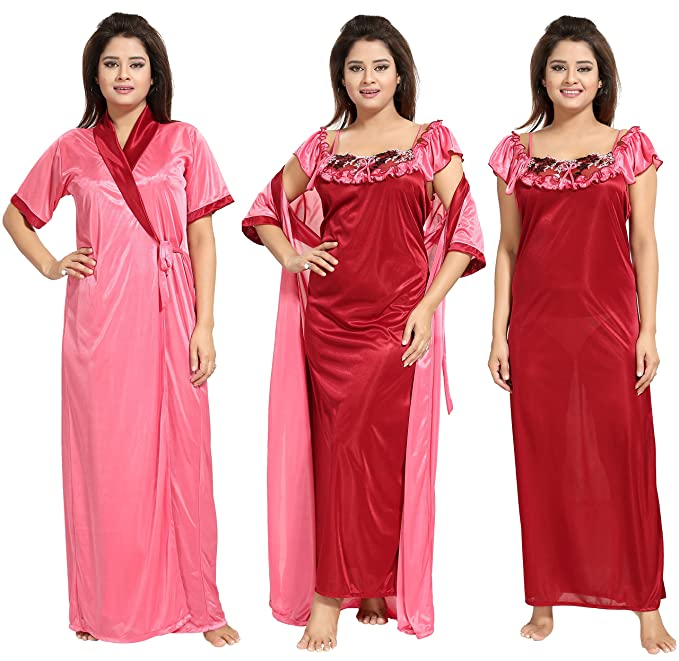 17171e562 Noty - Women s Contrast Satin Nightwear Nighty with Robe (Pink and Maroon) -