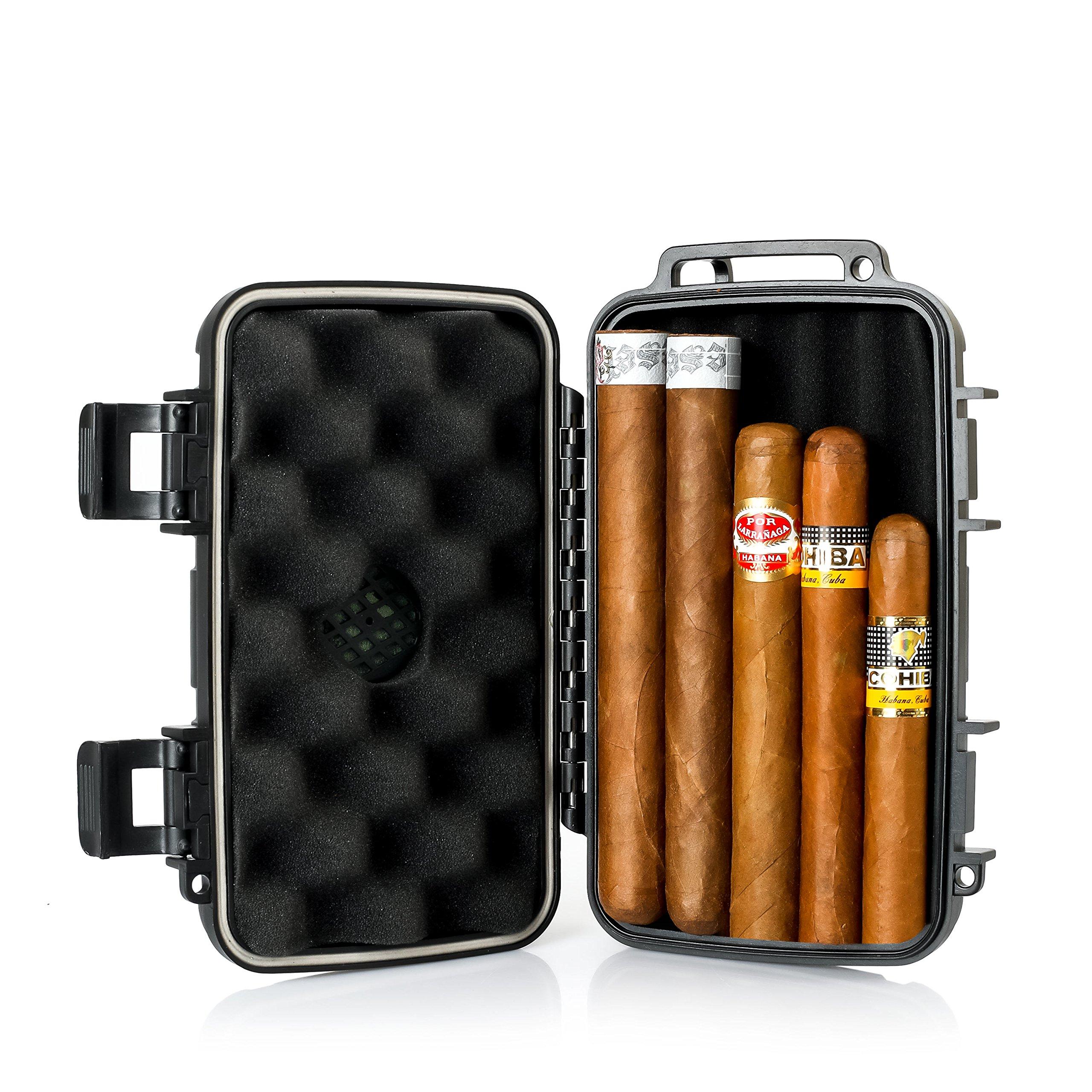 Jamestown Cigar Trail Ridge Plastic Travel Humidor Cigar Case - Rugged, Waterproof, Dustproof, Shockproof Premium Plastic Hard Shell Case - Built in Foam Humidor and Holds up to 5 Cigars (Original)