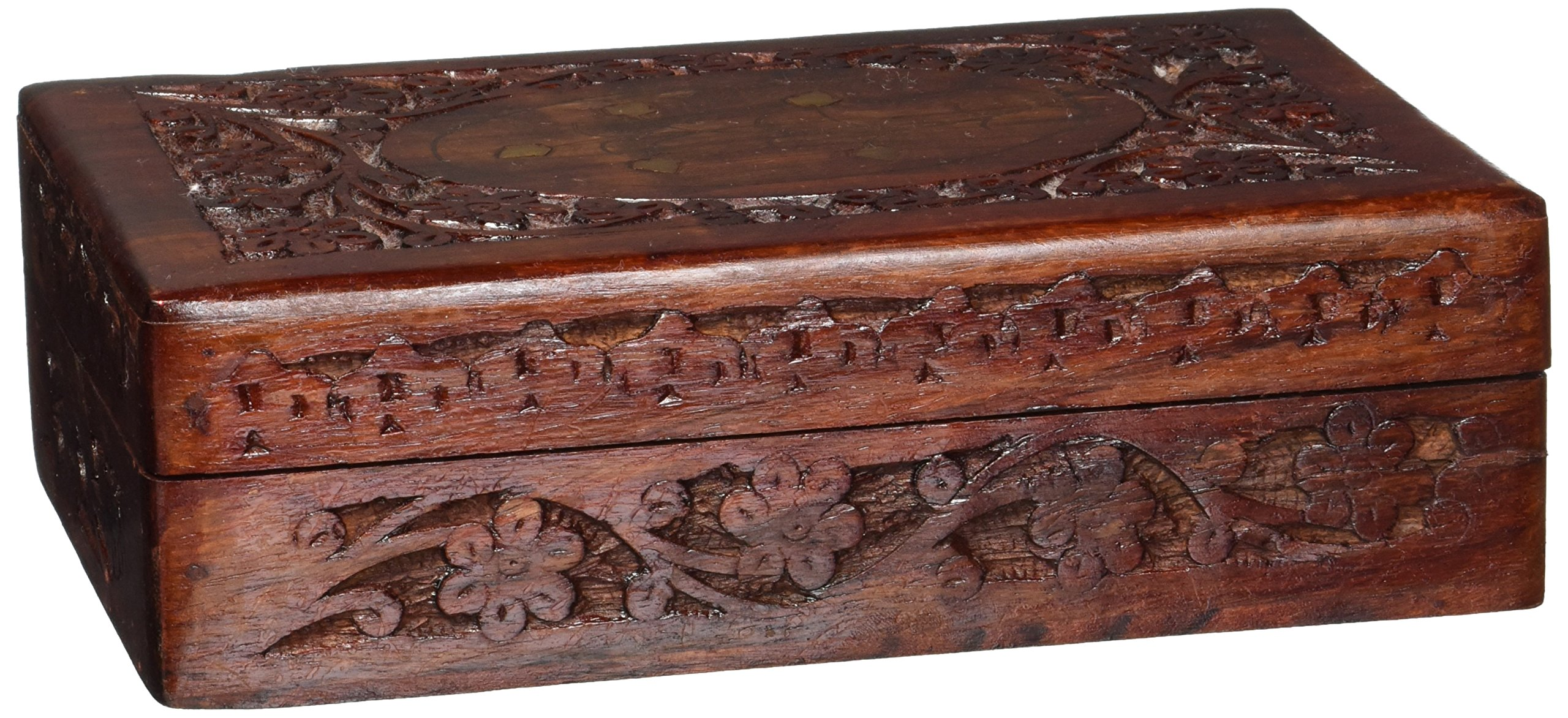 Handcrafted Wooden Jewelry/Keepsake Box with Lid - Small Wood Storage Chest Vintage Look (8 x 5)