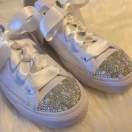 7048f307b0b6 Amazon.com  Bedazzled Wedding Shoes Swarovski Bridal All Star Chucks  Sneakers for the BRIDE All White Custom with Pearls and Bling for  Quinceañera or Prom  ...
