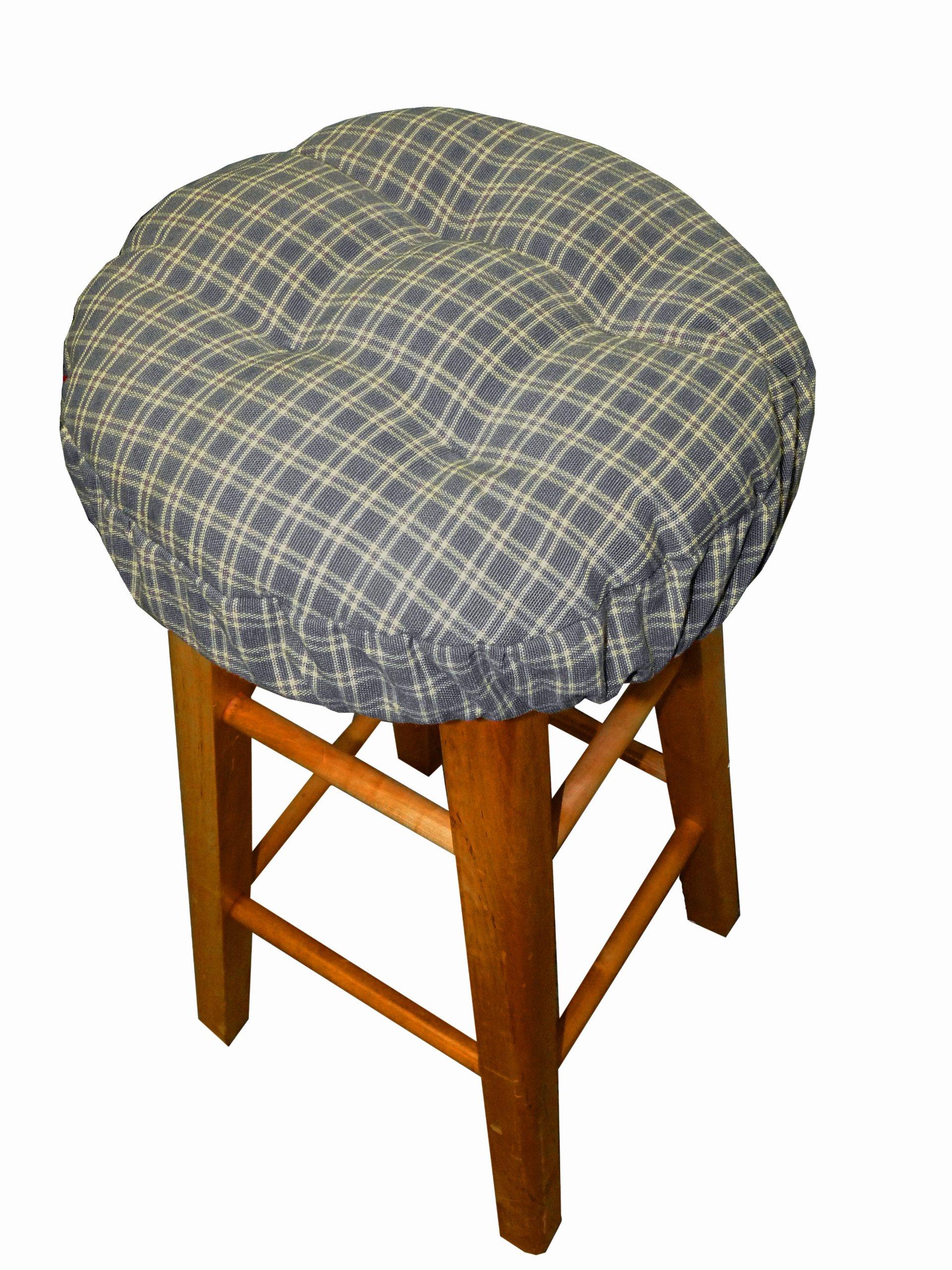 Britt Blue Plaid - Round Barstool Cushion with Drawstring Yoke - Size Extra-Large - Latex Foam Fill Bar Stool Pad (Slate, Windowpane)