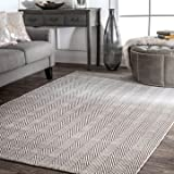 nuLOOM Hand Loomed Herringbone Cotton Flat Woven Area Rugs, 4' x 6', Grey