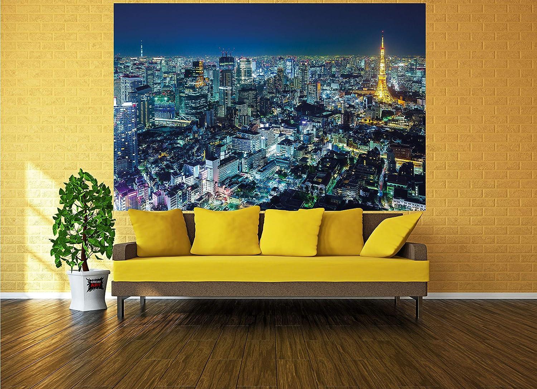 Great Art Póster Tokio Ciudad Mural Decoración Contorno de Tokio de Noche Metrópolis Torre de Tokio Panorama Foto Japón Deco Mega Ciudad Viajar | Foto ...