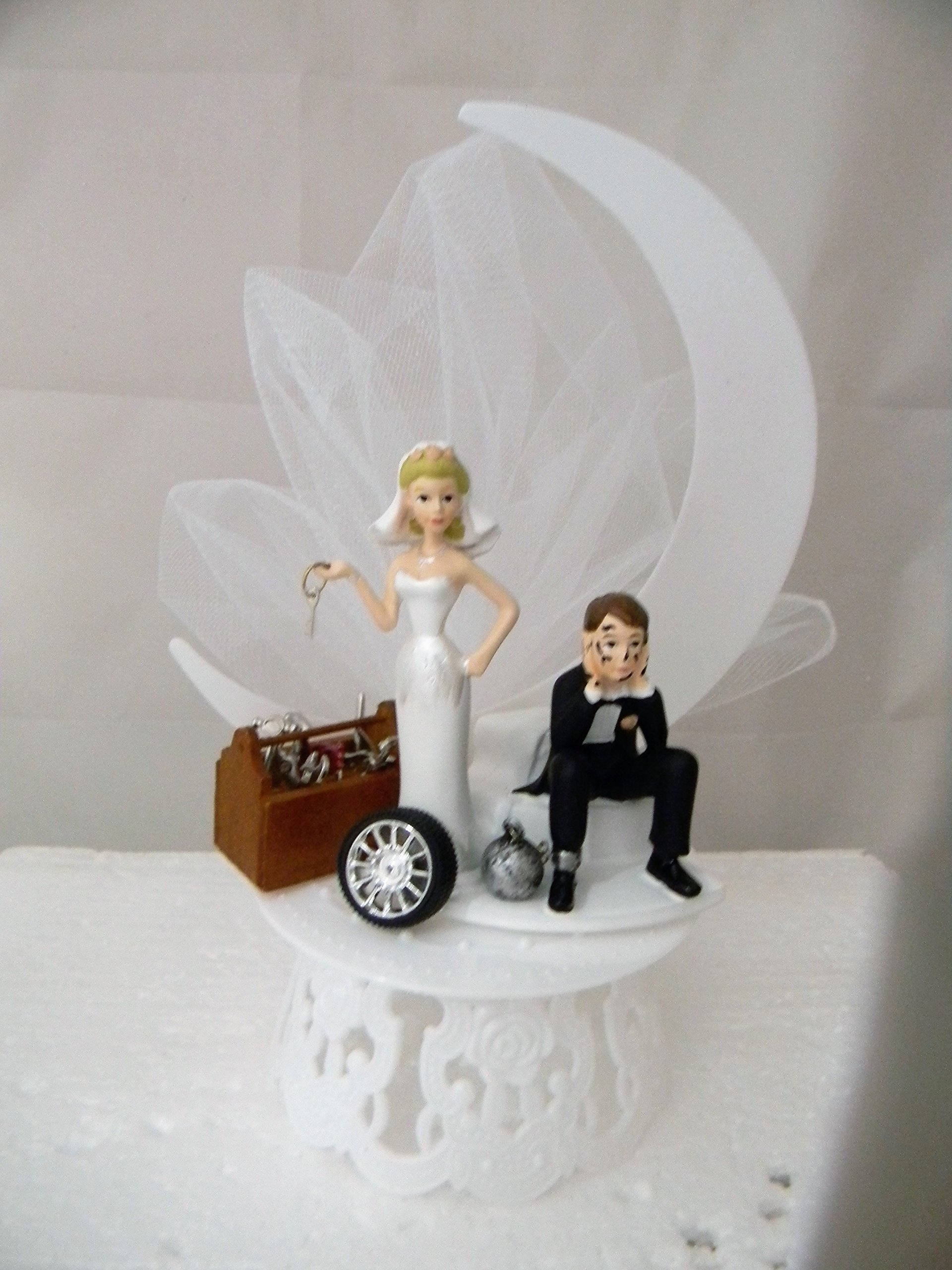 Wedding Reception Ball and Chain Garage Mechanic tool grease Cake Topper by Custom Design Wedding Supplies by Suzanne