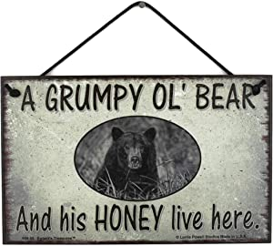 Egbert's Treasures 5x8 Vintage Style Sign Saying, A Grumpy Ol' Bear and his Honey Live here Decorative Fun Universal Household Family Signs for Your Home