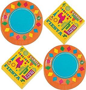 Fiesta Party Supplies - Bright Fiesta Paper Dessert Plates and Beverage Napkins (Serves 16)