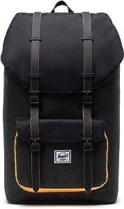 Herschel Little America Laptop Backpack, Black Crosshatch/Black/Blazing Orange, Classic 25.0L