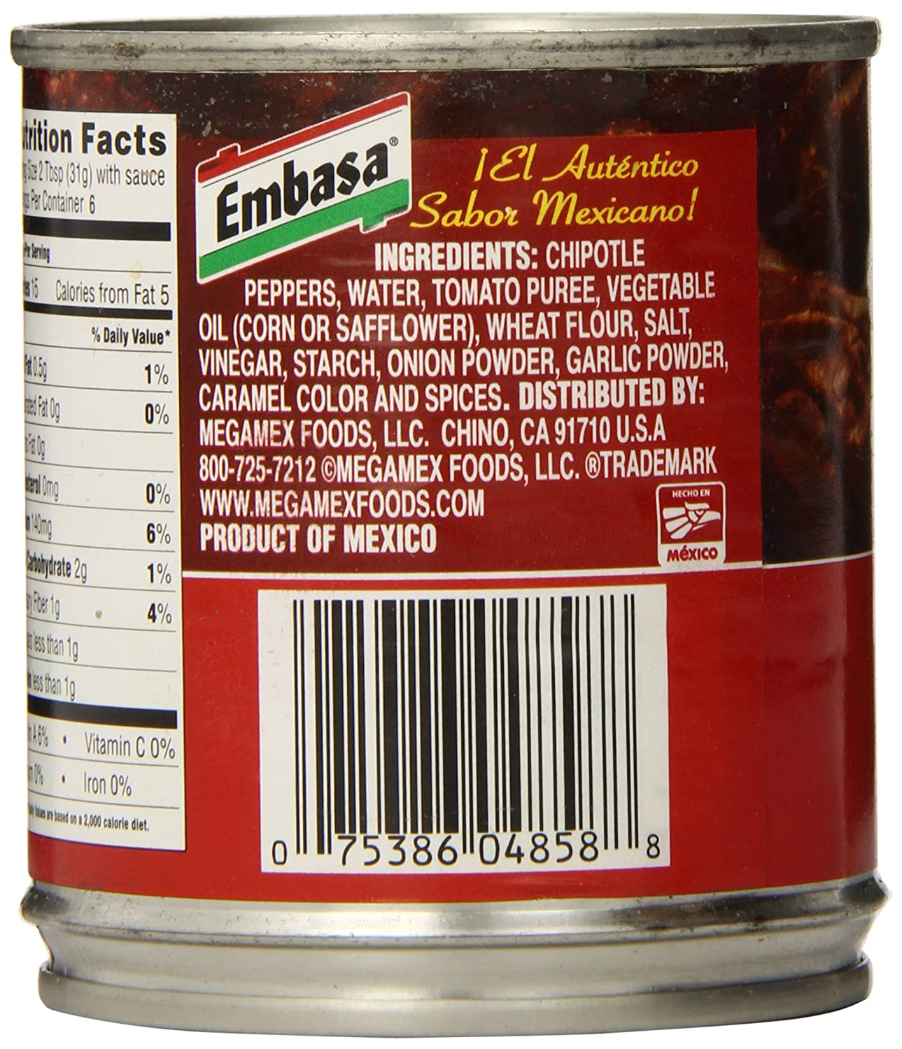 amazon com embasa chipotle peppers in adobo sauce 7 ounce cans