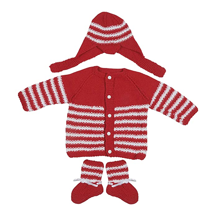 38d433a00 Maple Krafts 100% Wool Hand-Knitted Sweater Baby Boys Girls Full Sleeve  Dailywear Red White 0-1 Years: Amazon.in: Clothing & Accessories