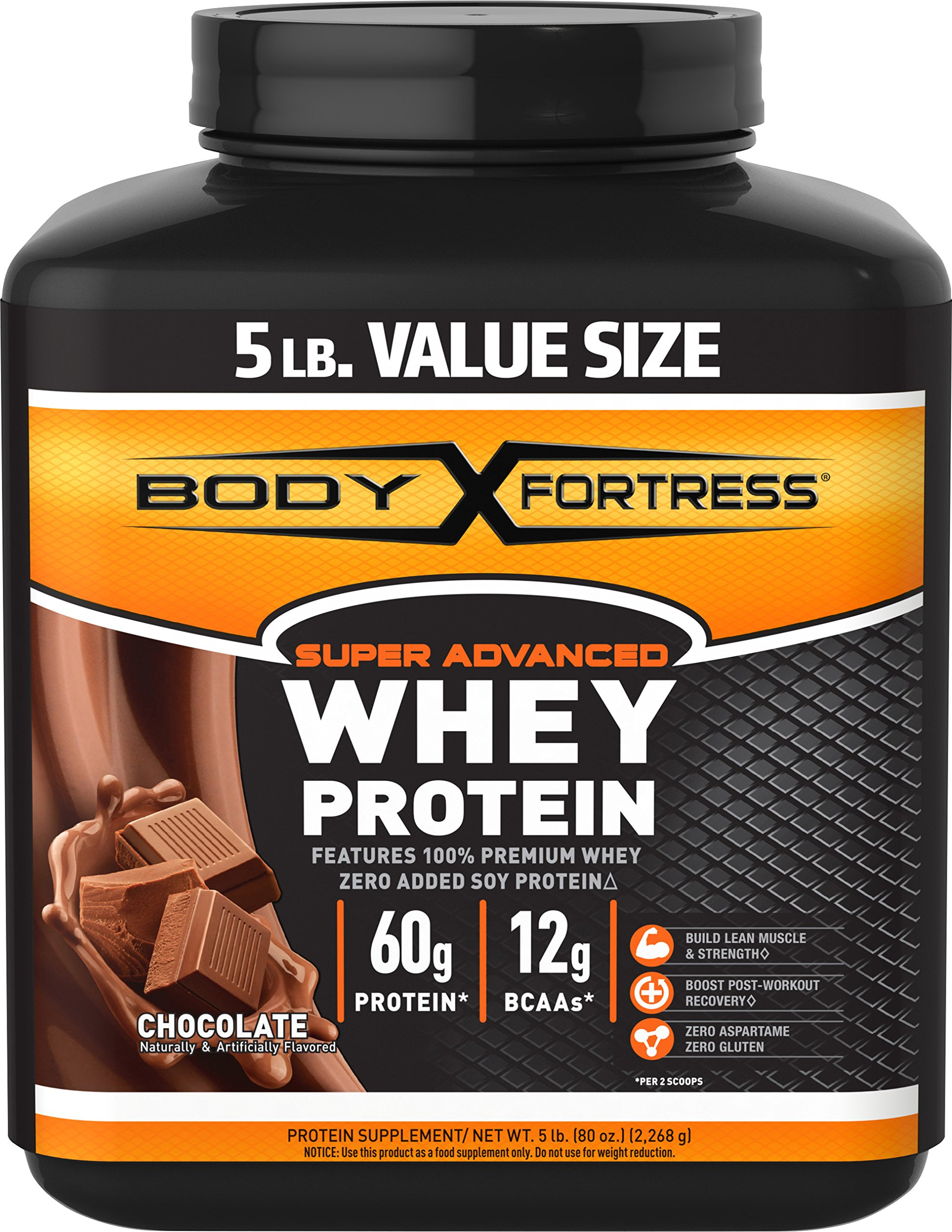 Body Fortress Super Advanced Whey Protein, Chocolate, 5 pounds Chocolate Protein Supplement Powder to Help Build Lean Muscle and Strength