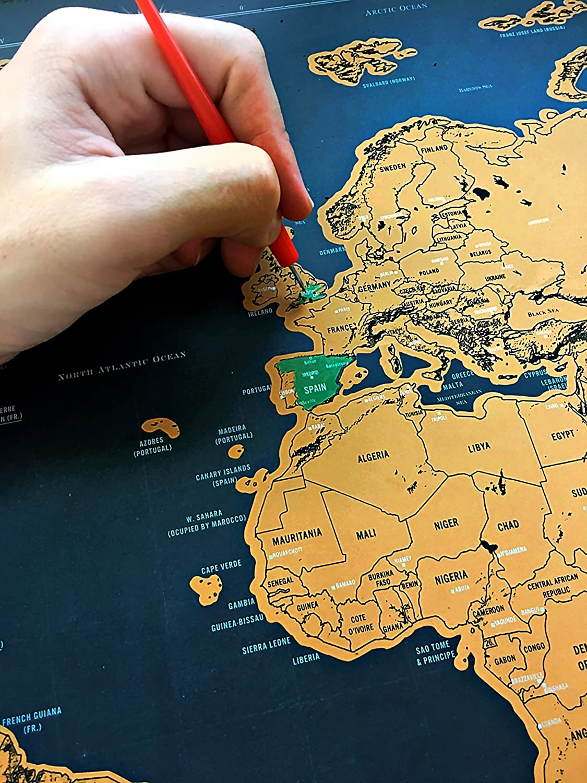Premium mundo mapa + arañazos Pen; Negro y oro edición. Ultimate mapa para los aventureros y los viajeros. Pista tus viajes, descubre nuevos lugares.